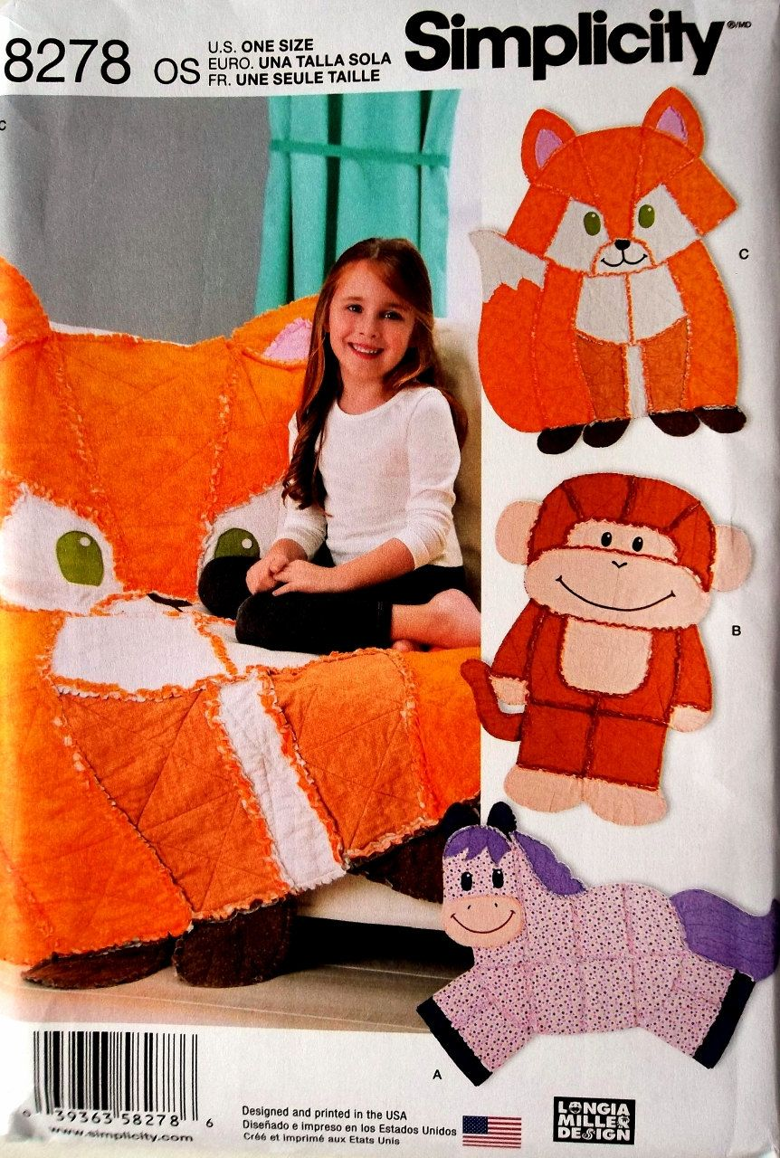 Horse shaped pillows for children - Kid S Rag Quilt Animals Pattern Rag Quilt Fox Pattern Rag Quilt Horse Pattern