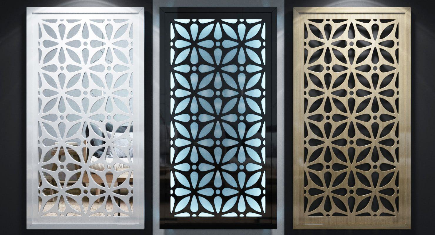 Screen Fence Lattice Perforated Panel Parions Wooden Decorative Set Collection Grille Modern Pattern Futurism Wall Gate
