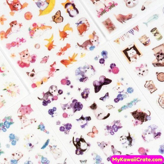 Estilo japonés Cat Life Stickers 6 hojas Set ~ Cartoon Cat Stickers decorativos, DIY Scrapbooking Planner Journal Sticker, Cat Lover Gift