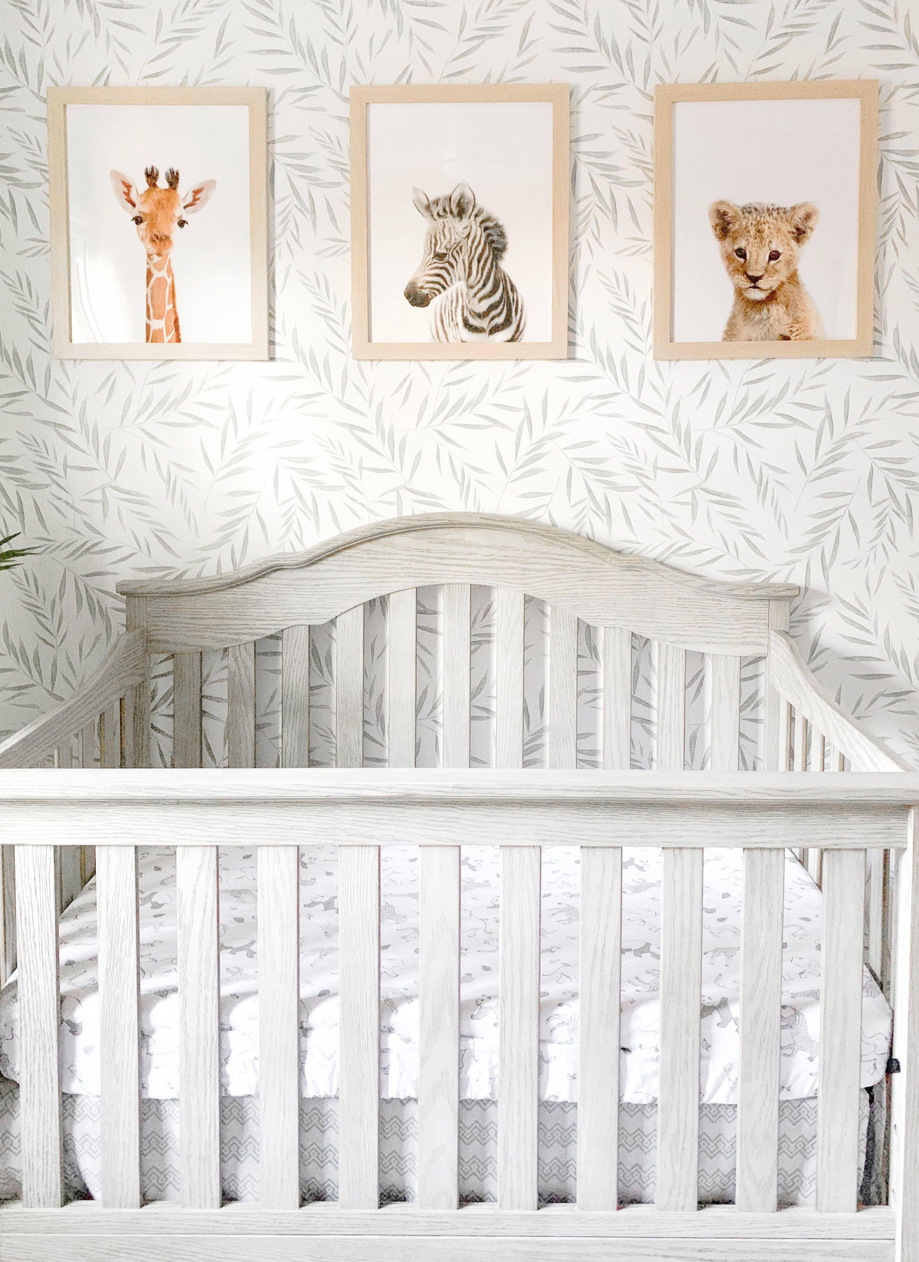 Light Green Botanical Foliage Wallpaper Nursery Wallpaper Boy Nursery Wallpaper Accent Wall Nursery Wallpaper