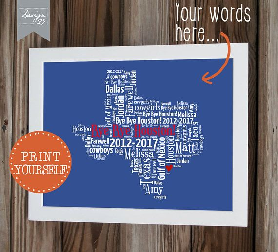 texas personalized map words form any us state personalized word art printable wall