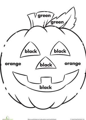 Color The Jack O Lantern Worksheet Education Com Halloween Kindergarten Halloween Preschool Halloween Worksheets