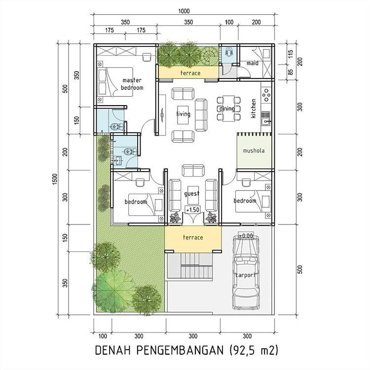 Rumah Tumbuh Di Lahan 10x15m Elevasi Tanah 1 5 M Di Atas Jalan Good Design For Everyone With Affordable Price Denah Rumah Denah Desain Rumah Rumah