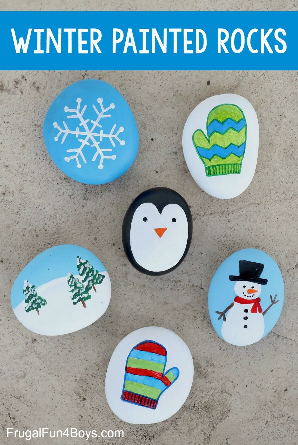 Winter Rock Painting Ideas for Kids