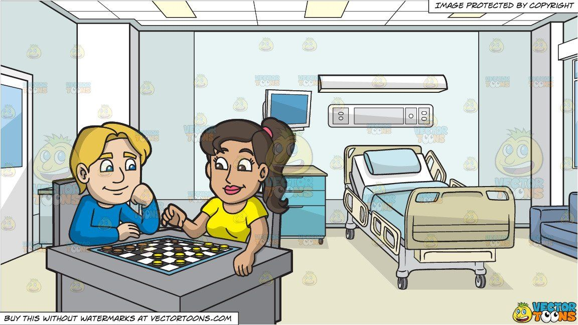 A Man And Woman Playing Checkers and Inside A Hospital