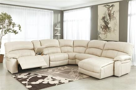 Damacio Cream Leather Sectional W Raf Chaise Sectionals