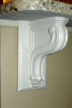 Medium Maple Brackets For Support Of Granite Counter And Granite Overhang