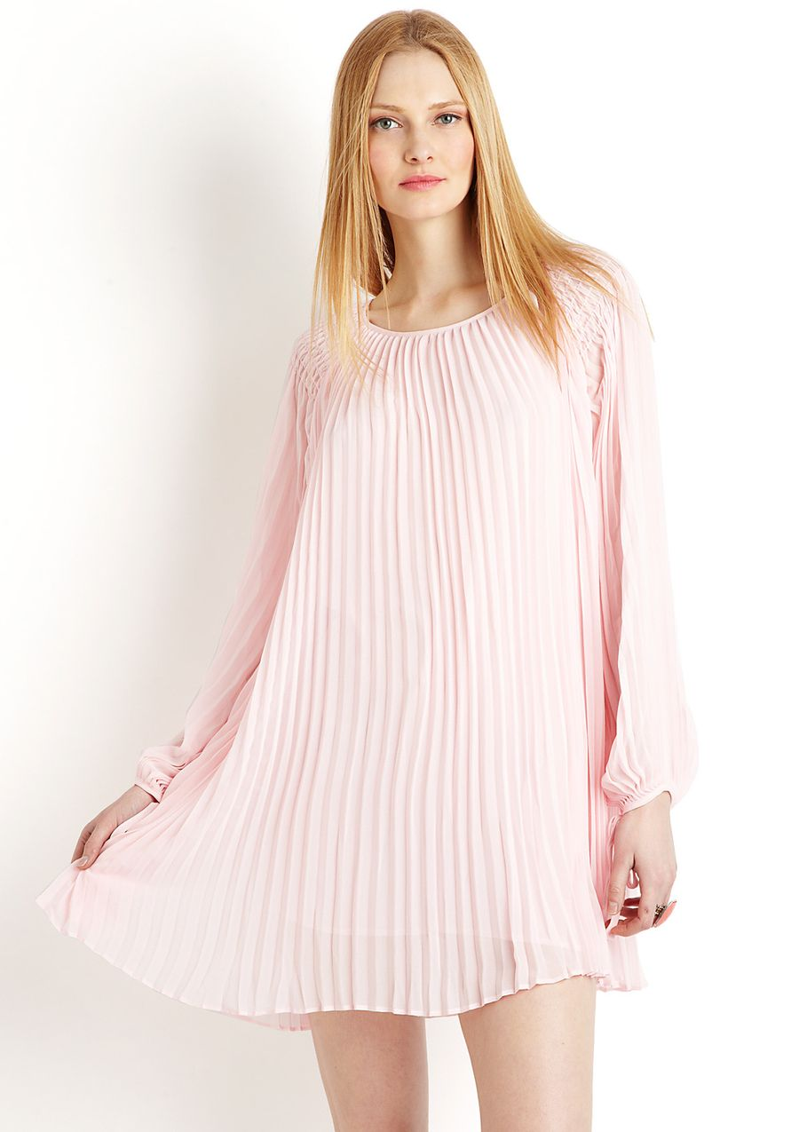 pink leather dress long sleeve