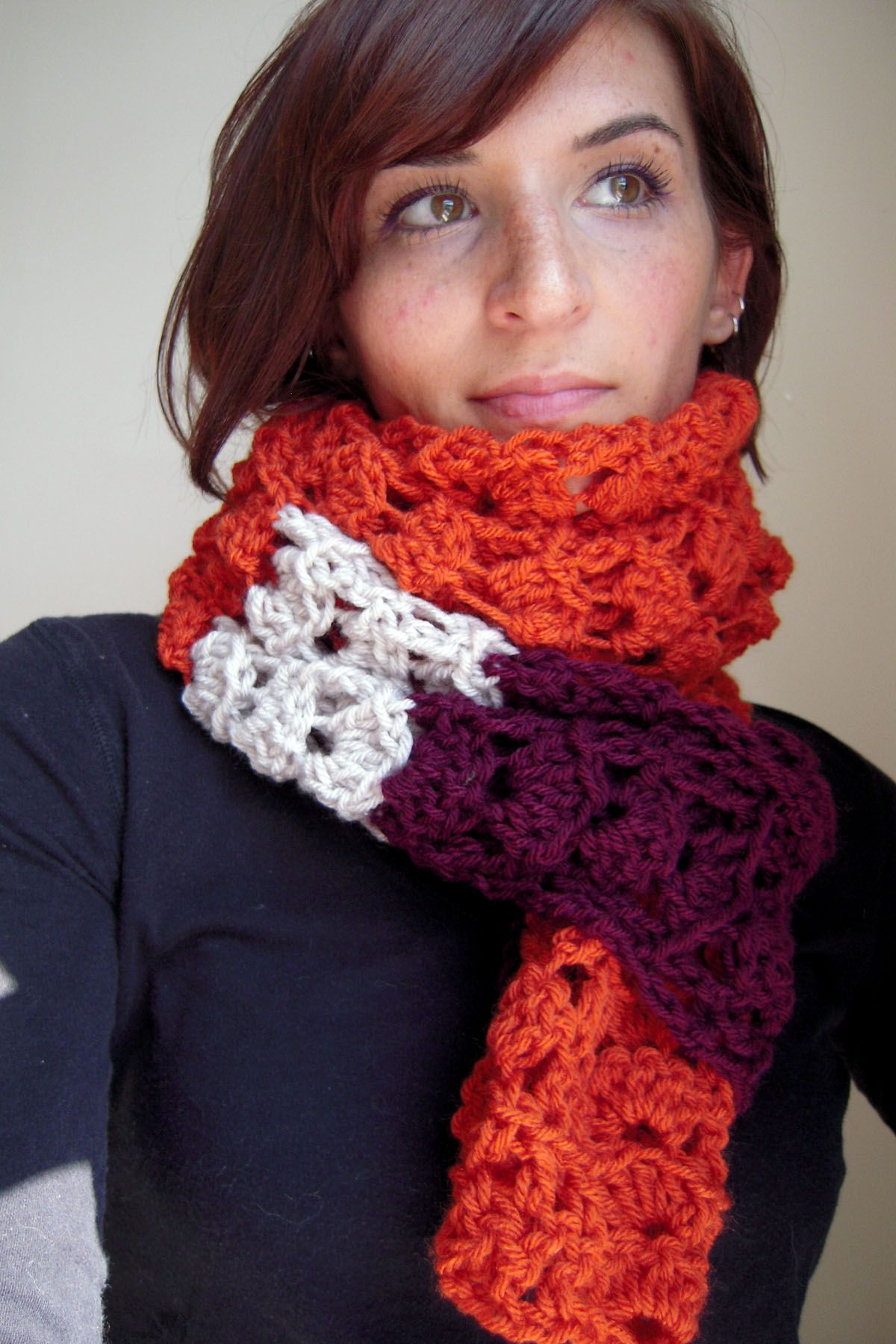 Orange Maroon And Off White Scarf Crocheted Using Lion