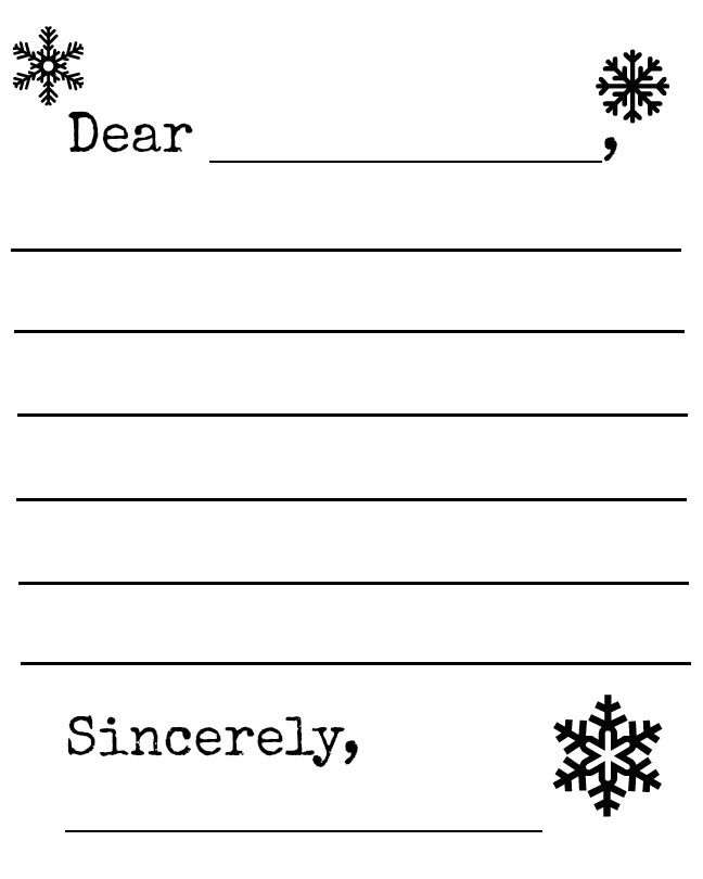 free snowflake and snowman winter letter template