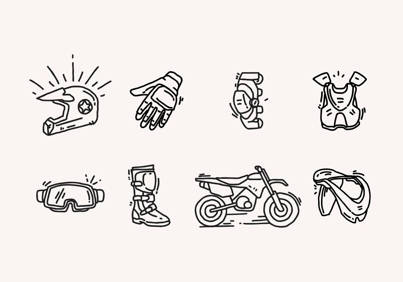 Hand Drawn Dirt Bike Icons Dirt Bike Tattoo Bike Drawing Bike Icon