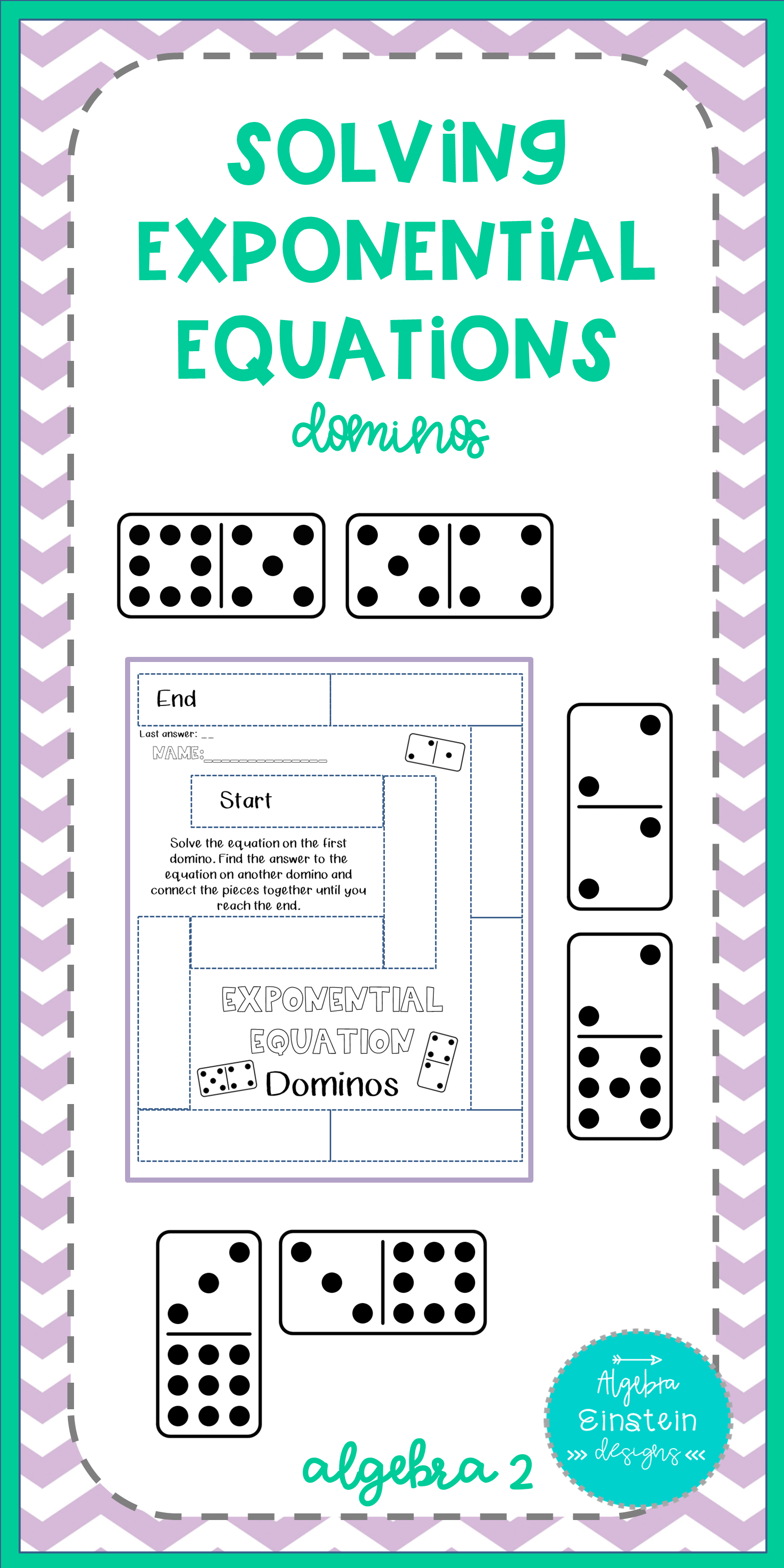Exponential Equations - Solving by Combining Bases Dominos ...