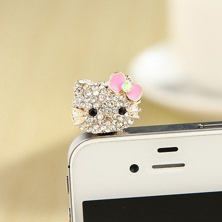 MoMo Store Crystal Rhinestones Hello Kitty Earphone Jack/Dust Plug for Iphone 4, 4s, Samsung / HTC / All Device...