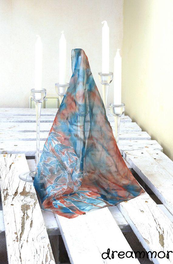 Elegante pañuelo de seda chiffon pintado a mano. bambú por dreammor, €13.00