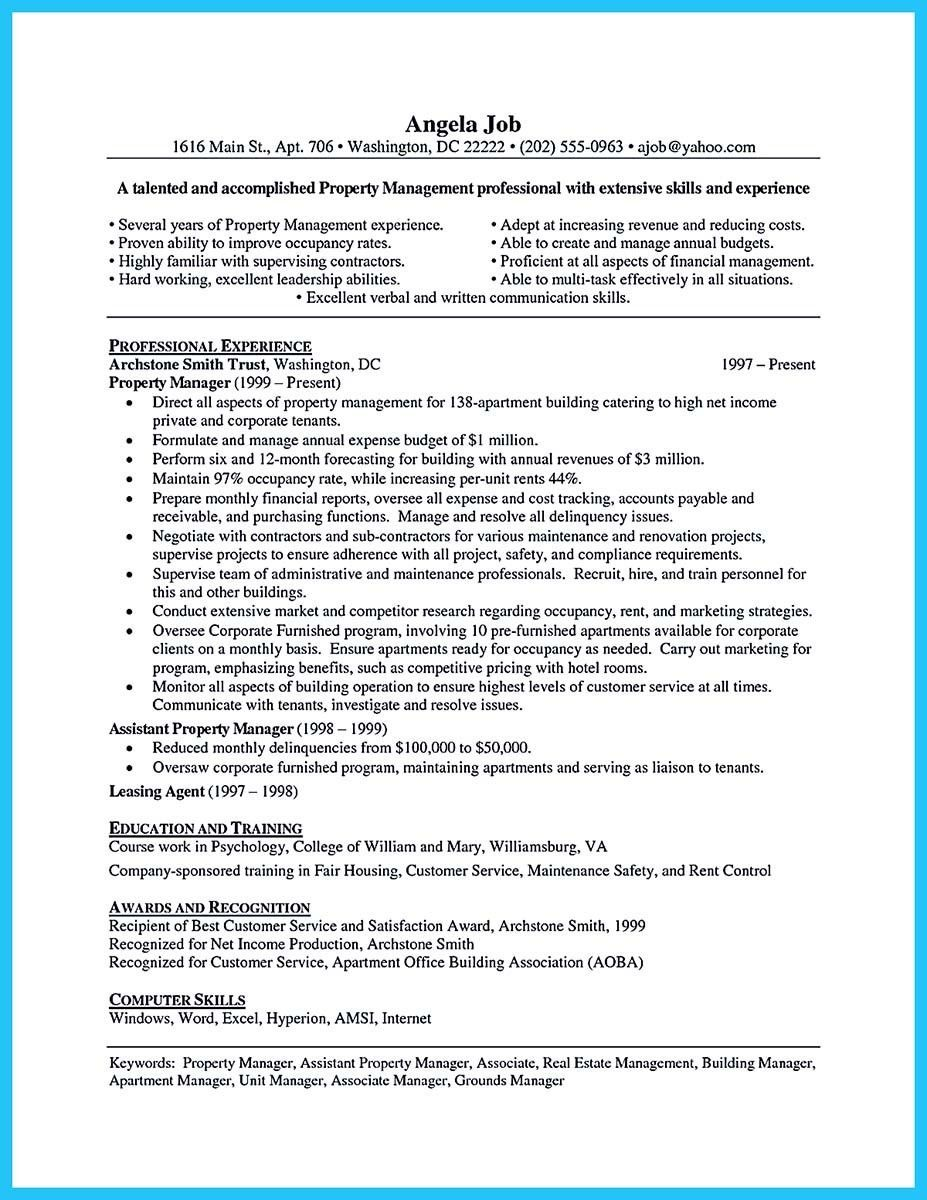 Apartment Manager Resume Unique Awesome Writing A Great Assistant Property Manager Resume Check .