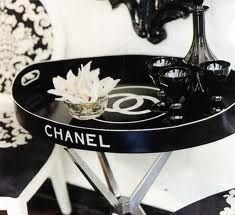 Chanel black and white monogrammed table