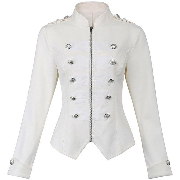 5391117e0ce Kate Kasin Women s Military Blazer Buttons Decorated Zipper Front... ❤  liked on Polyvore featuring outerwear