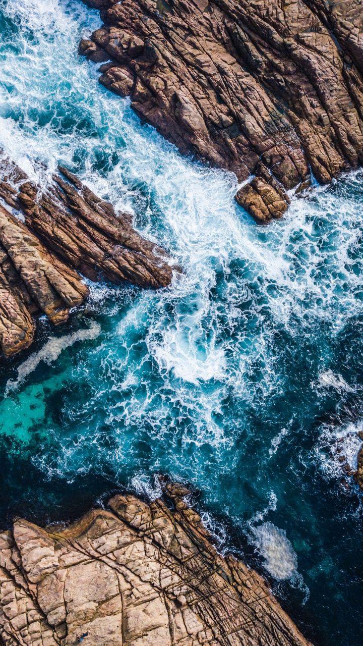 Coast Canal Sea Waves Rocks Aerial Shot 720x1280 Wallpaper Waves Wallpaper Ocean Wallpaper Beach Wallpaper Wallpaper beach sea waves rocks coast