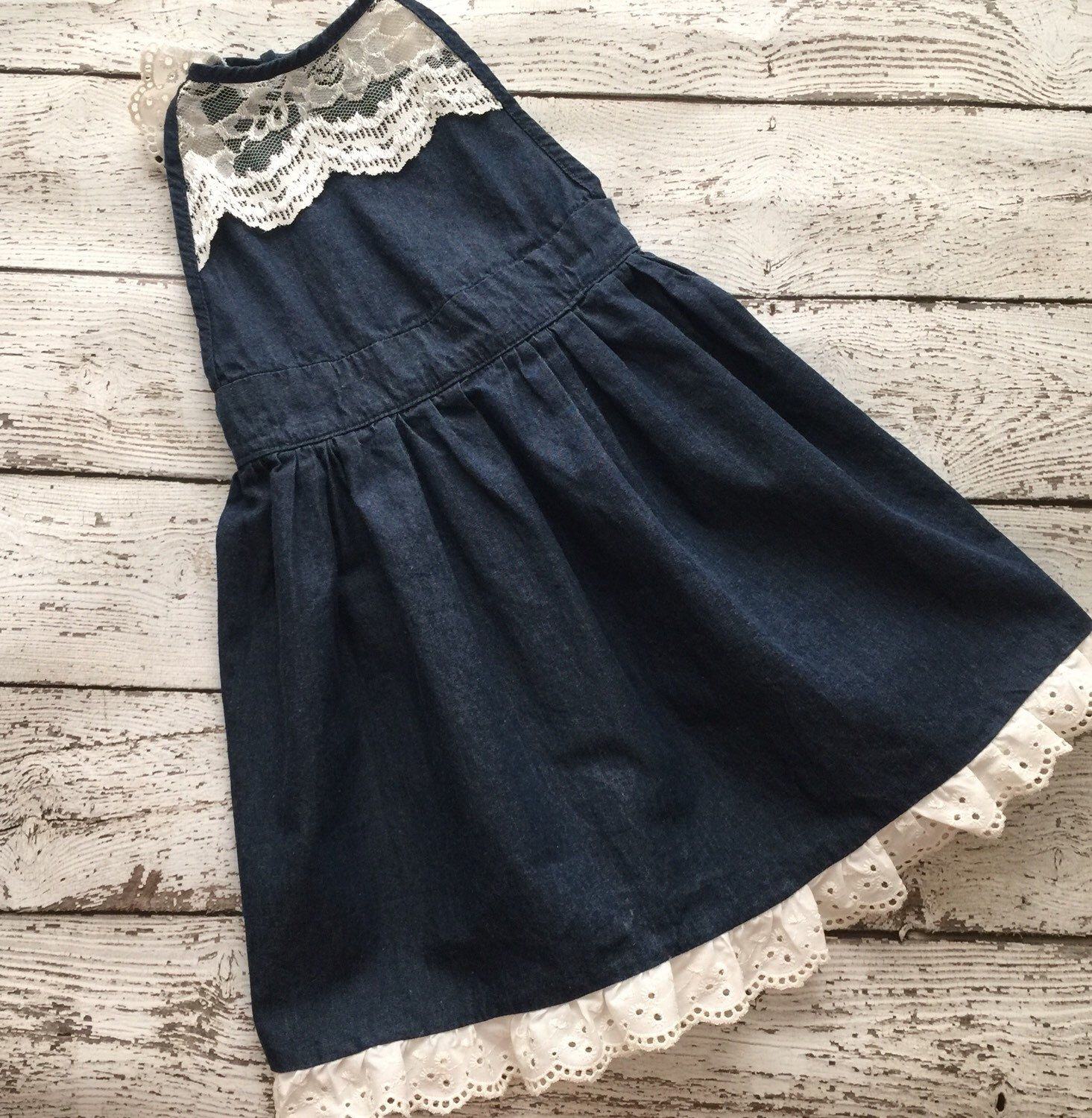 72d2dd84909 Cowgirl denim and lace dress