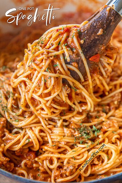 One-Pot Spaghetti {No Boil} - Plain Chicken