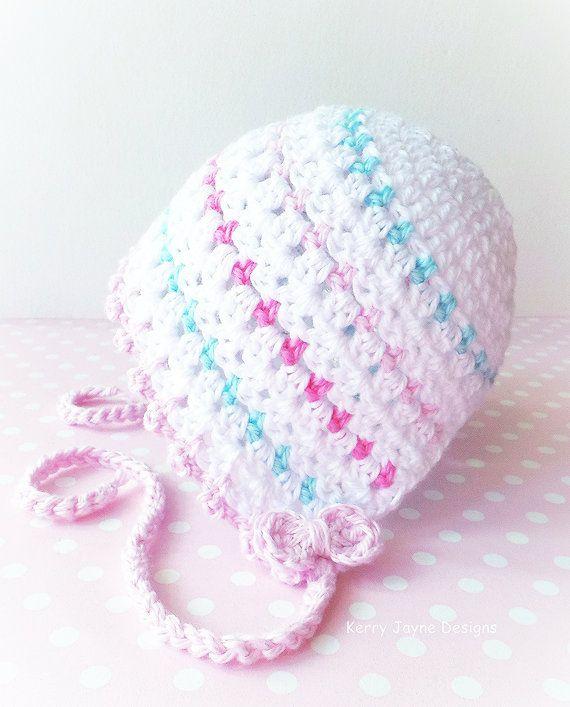 CROCHET HAT PATTERN Dinky Dot Baby Bonnet Pattern - Bonnet Crochet ...