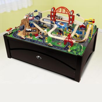 Costco Kidkraft Metropolis Train And Table Set Train Set Table Wooden Train Table Train Table