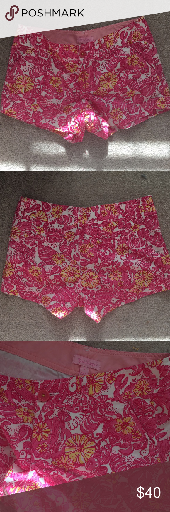 """EUC Lilly Pulitzer Chum Bucket Walsh Shorts Sz 0 Excellent used condition Lilly Pulitzer walsh shorts in The print """"Chum Bucket"""" in size 0. Inseam is 3"""". Lilly Pulitzer Shorts"""