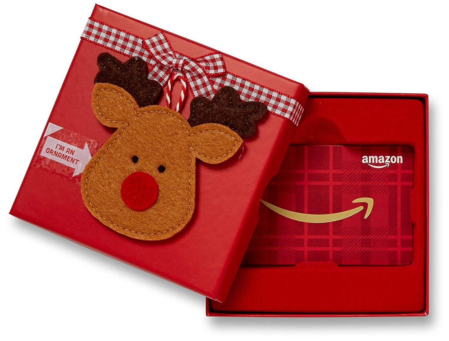 Gift card in a reindeer ornament