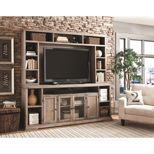 Canyon Creek 84-Inch TV Console with 4 Doors and Open Shelf Storage