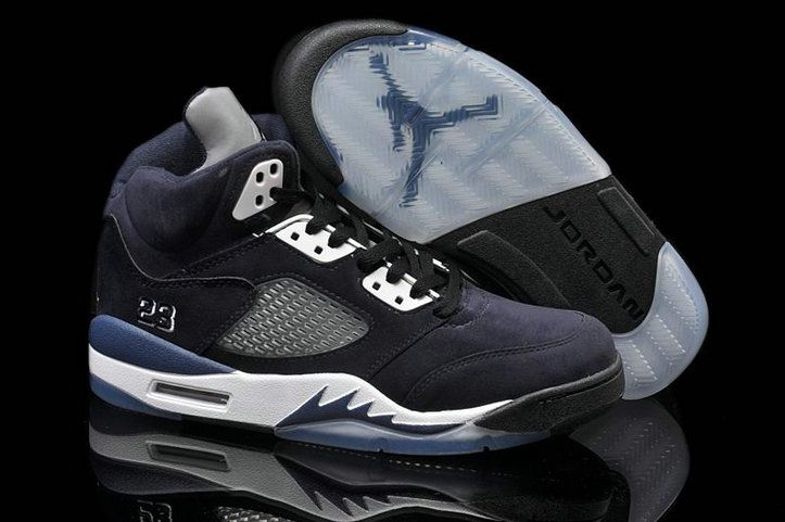 Cheap Jordans Retro 5 Black Dark Blue White