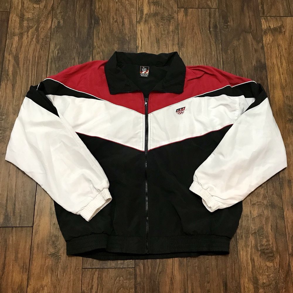 Vintage 1990s 90s USA Olympics Red   White   Black Windbreaker Jacket Mens  Large  JCPenny  Casual 0d97858d1