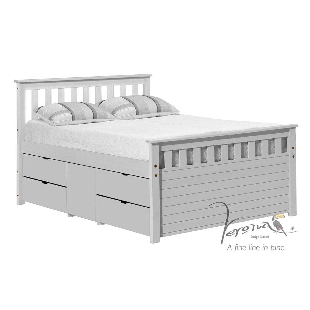 Verona Design Captainu0027s Ferrara White 4ft 6  Long Double Storage Bed  sc 1 st  Pinterest & Verona Design Captainu0027s Ferrara White 4ft 6