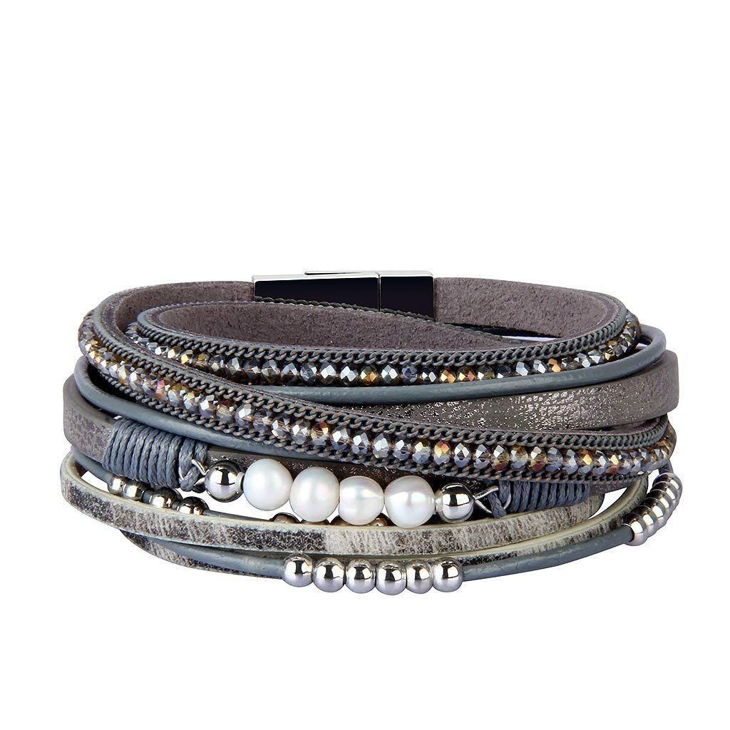 04b44225b19 Jenia Women Leather Wrap Bracelet Rope Braided Cuff Bracelets with Pearl  Crystal Beads Handmade Jewelry for Mother, Wife, Teens Girls Birthday Gifts  ** Read ...