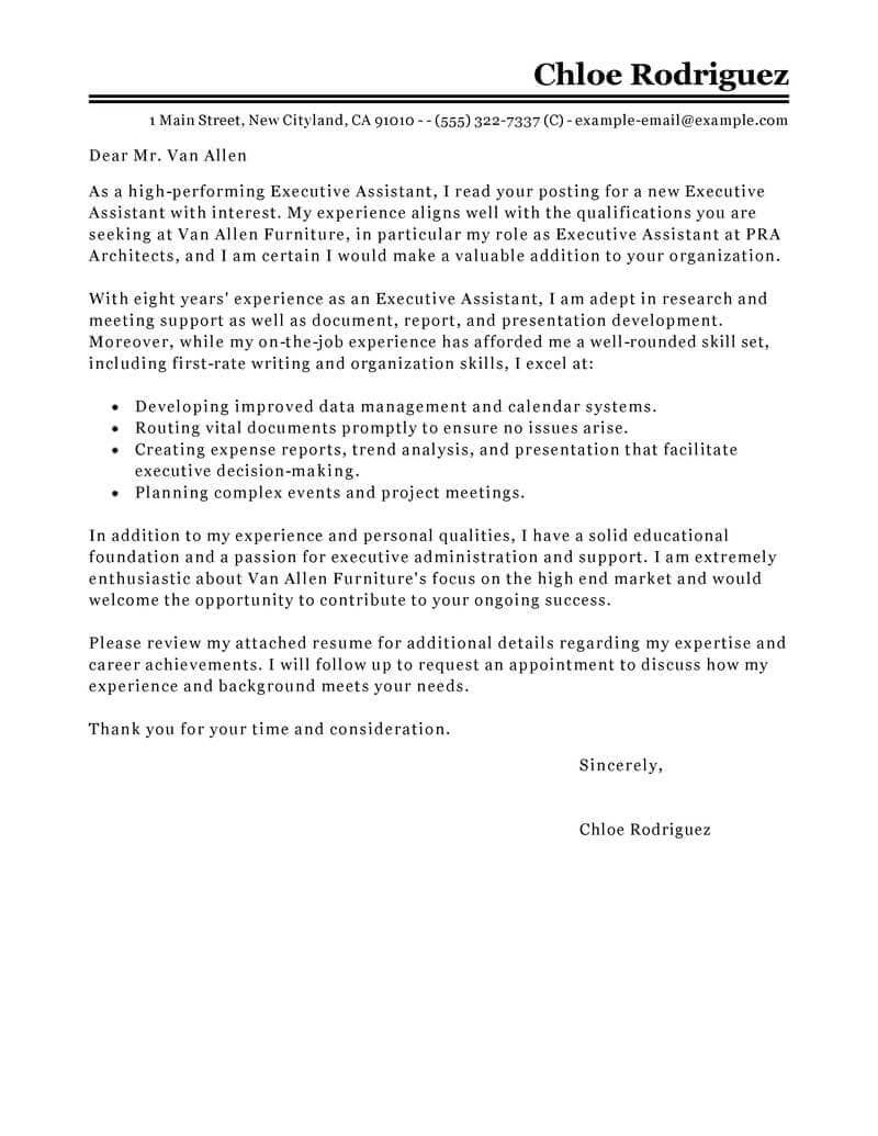 25+ Executive Assistant Cover Letter | Cover Letter Examples For Job ...