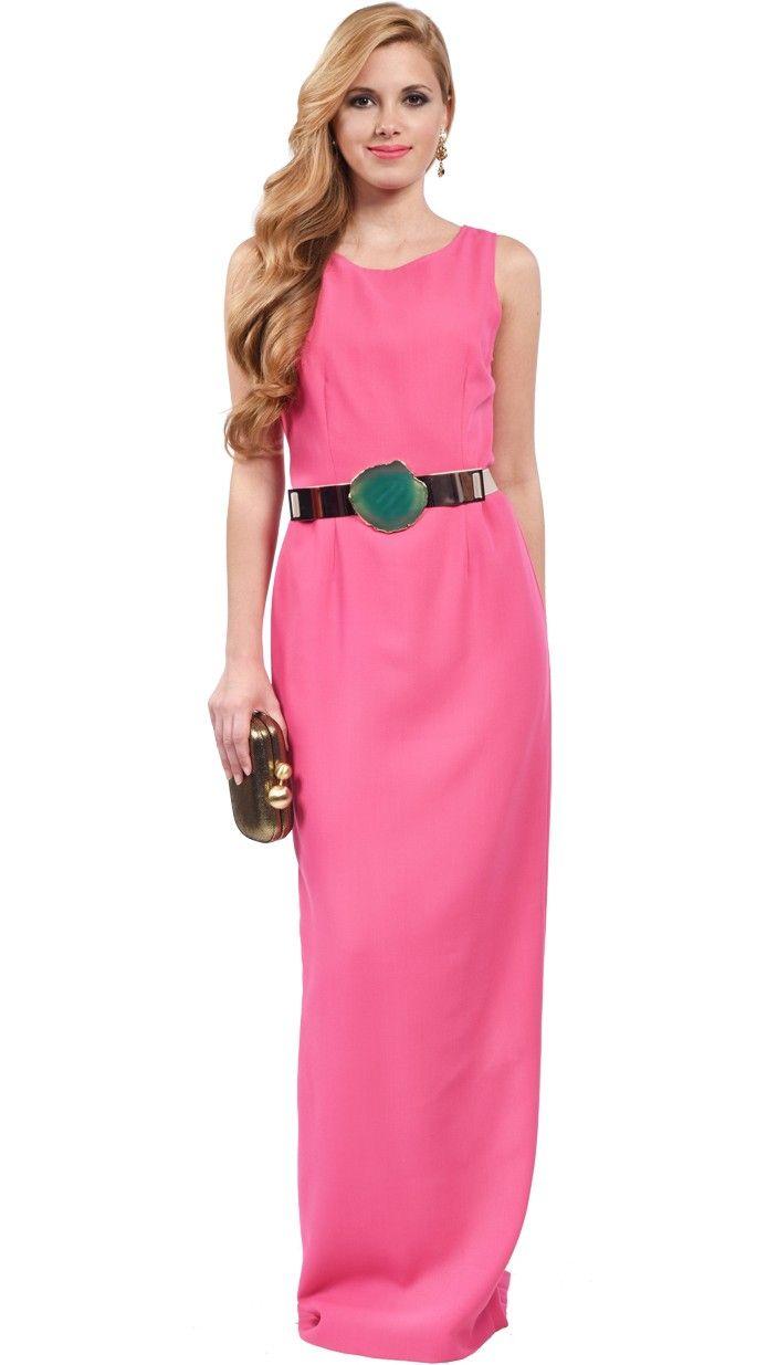 DRESSEOS - Exclusivo vestido largo en rosa con espalda abierta. Es ...