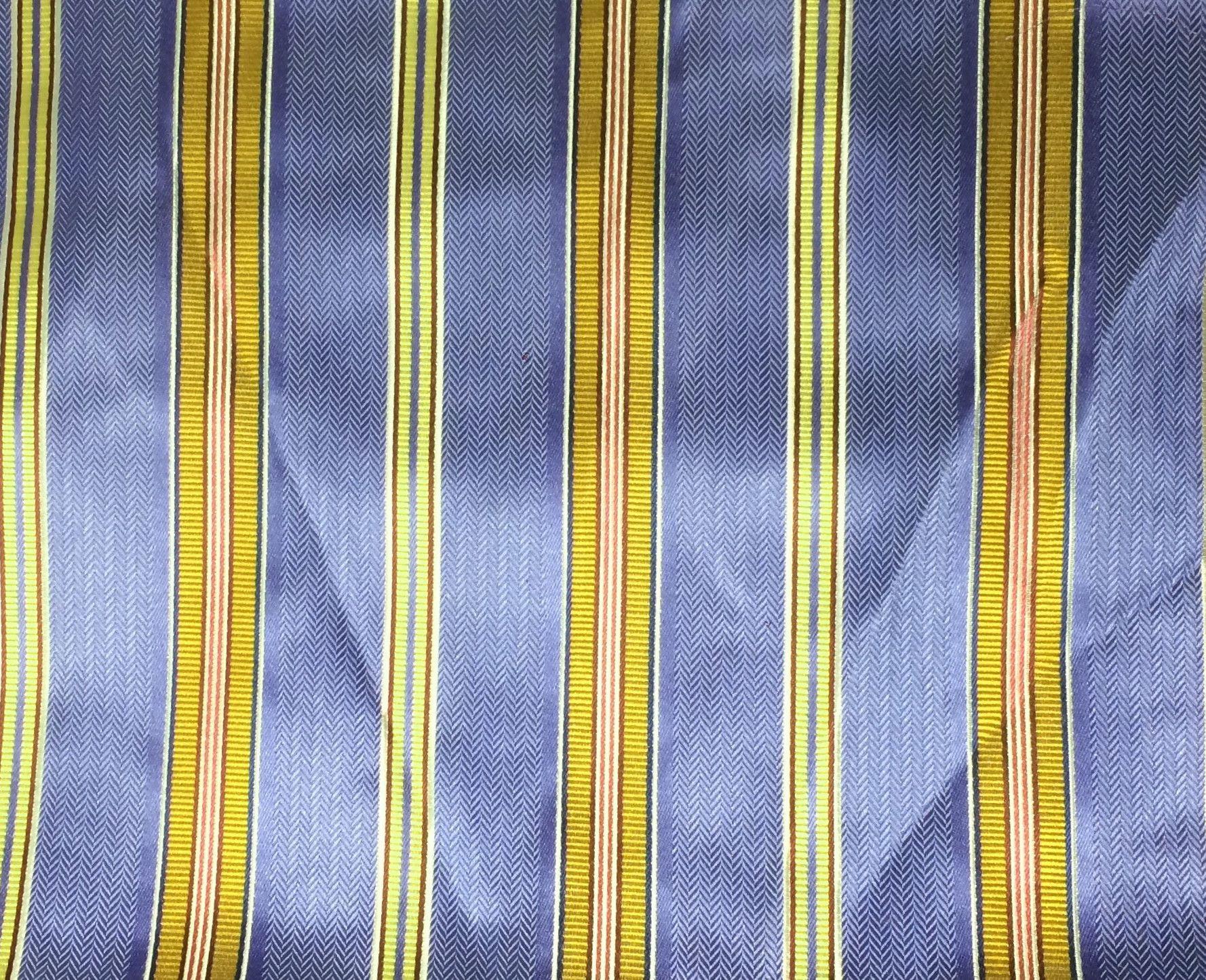 "Periwinkle & Copper Stripes - Silk Brocade (17""x27"")"