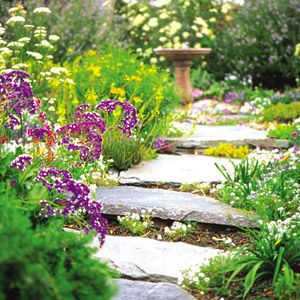 Stones and mulch: a good blend  Pros A good solution for a path that gets moderate use.  Cons Mulch needs to be replenished each year; pavers may shift over time.  Tip Use stones that are large, and set them at a distance that is comfortable to walk along.