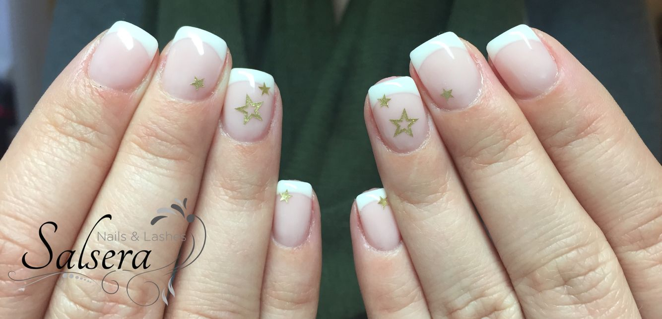 Nails Nägel Nageldesign French Classic white Camouflage Sterne Stars ...