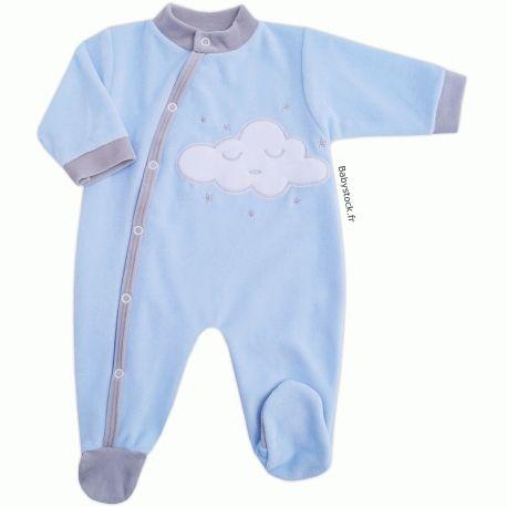 Pyjama dors bien pour bébé garçon en velours bleu ciel brodé Nuage à ... 3a1e7d2bd6f