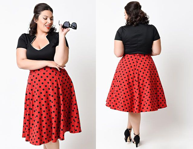 ca073166e0ebca Red   Black Polka Dot Thrills High Waisted Skirt By Steady Clothing ...