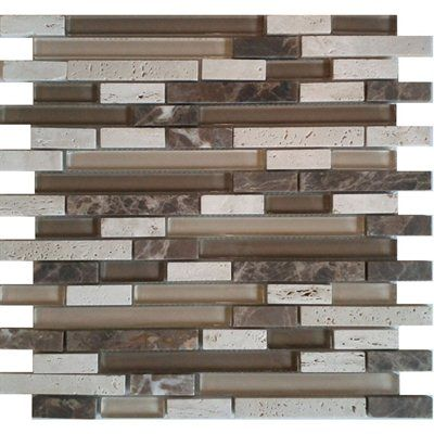 avenzo 12-in x 12-in cafe glass & stone mosaic wall tile this