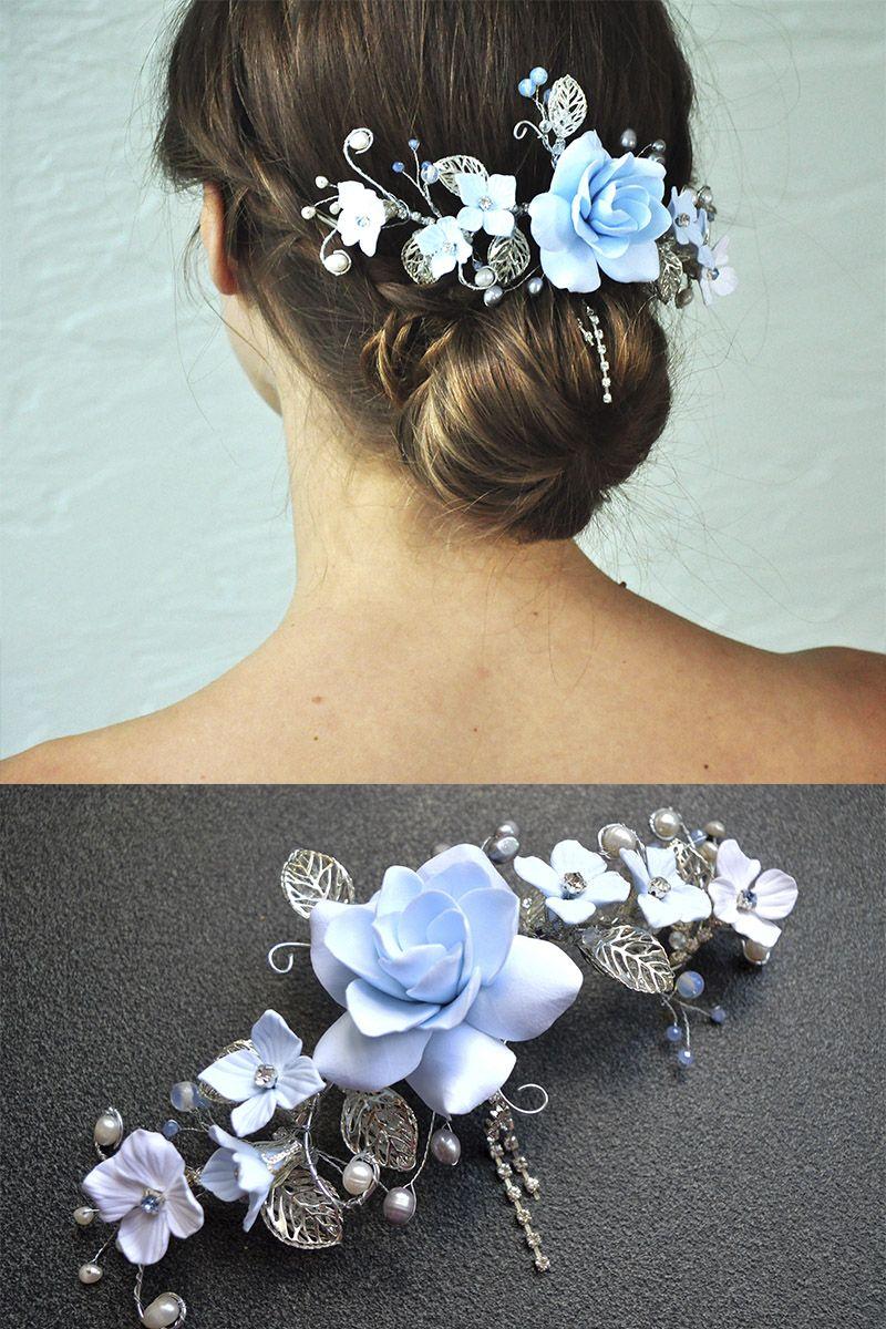 Bridal Hair Vine Blue Floral Hair Piece Gardenia Hair Clip Wedding Head Piece For Bride Tropical Flower Hairpiece Silver Beads Pearl Jewelry Floral Hair Pieces White Flower Hair Clip Flower Hair