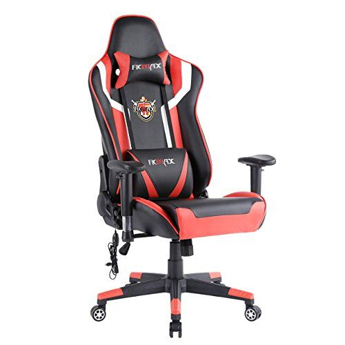 Ficmax Racing Style Bucket Seat Large Size Gaming Swivel Chair With Lumbar Massager Support Adjustable Headrest Computer Chair Gaming Chair Gaming Desk Chair