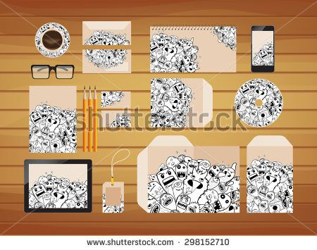 brand identity doodle hipster style retro - stock vector