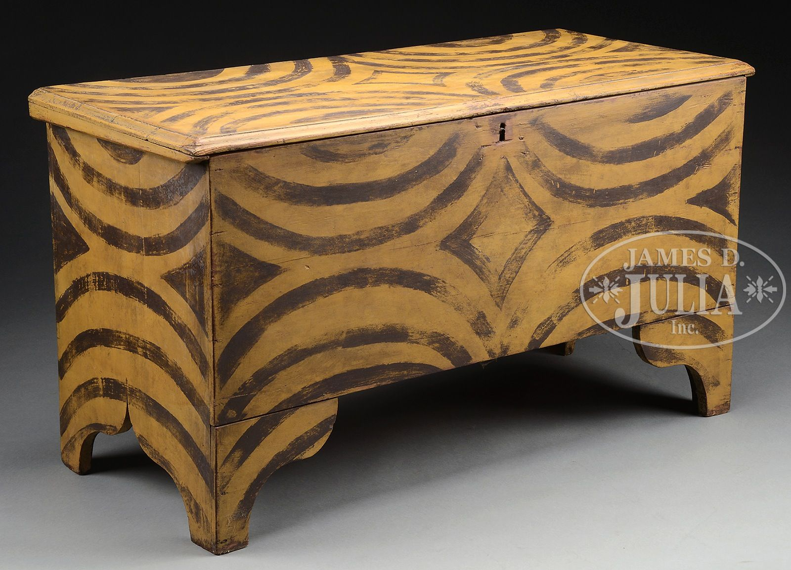 EARLY AMERICAN SPONGE DECORATED BLANKET CHEST
