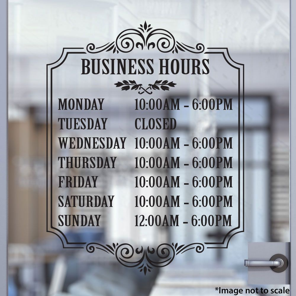 Custom Business Hours Stickertitanscom Custom Business - Custom vinyl decals for metal