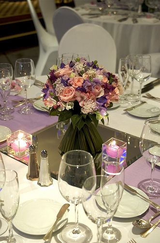 centro de mesa con velas decoracin