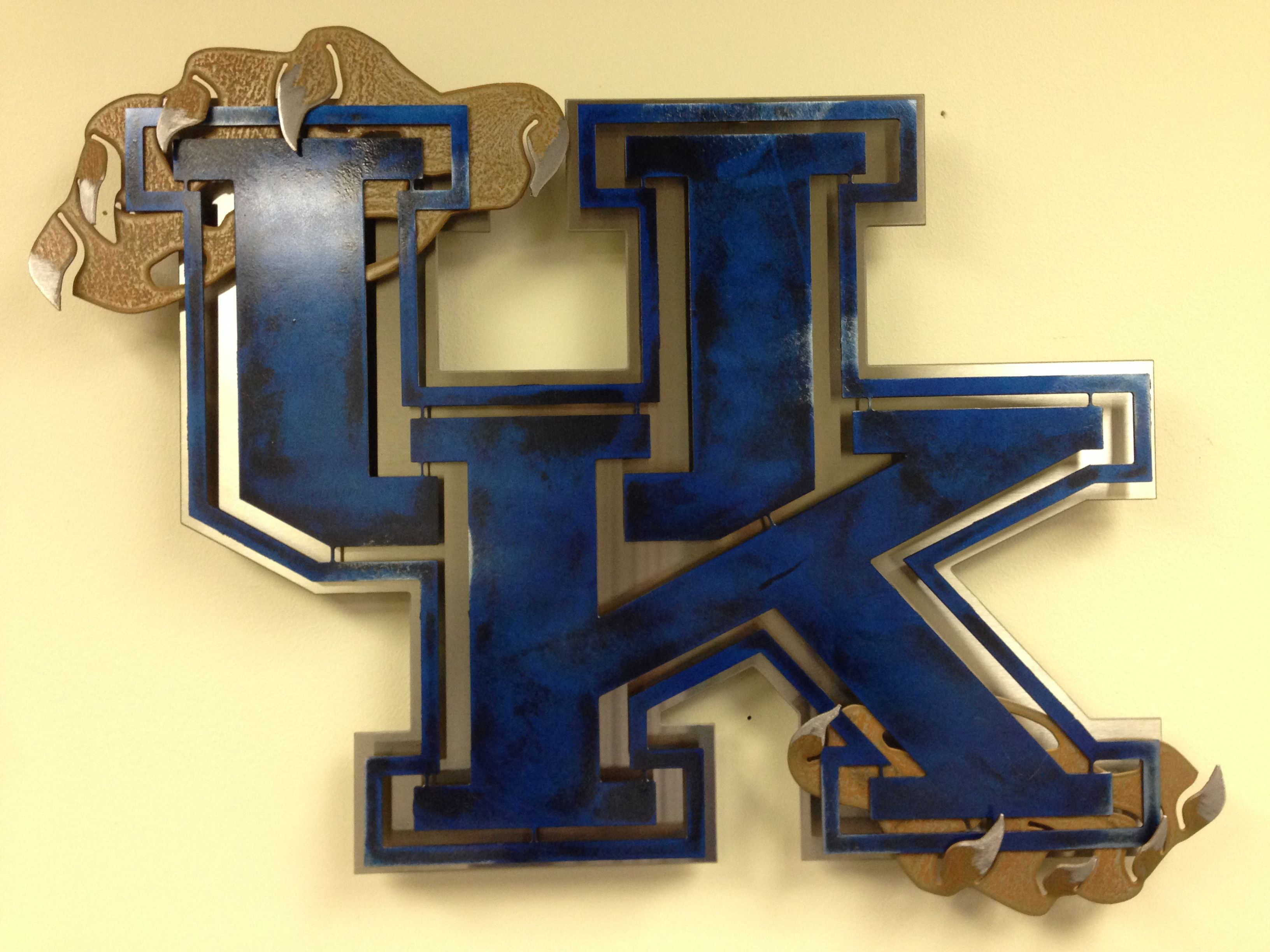 Cat Wall Art Metal Uk Stainless Steel Logo Kentucky Wildcats Metal Wall Art