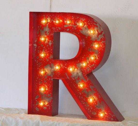 24 large vintage style marquee letters metal steel