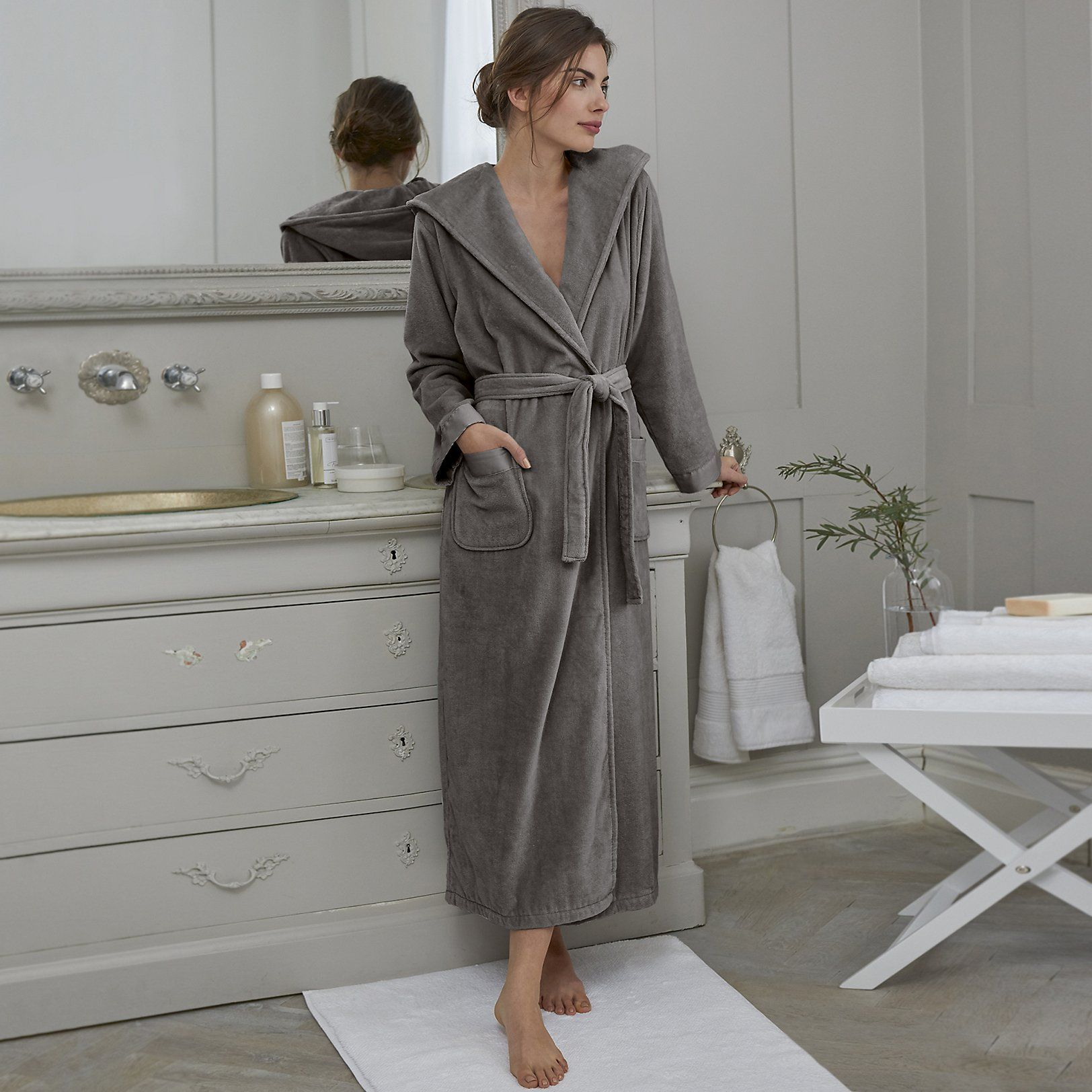 Hooded Velour Robe | Nightwear & Robes Sale | The White